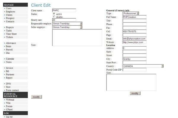 Formulaire d'ajout de client