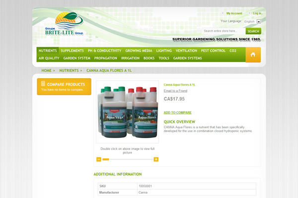 Page détaillée d'un produit