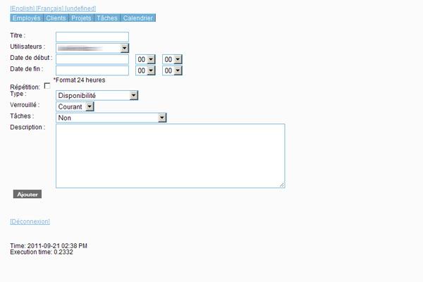 Formulaire d'ajout d'événement de calendrier