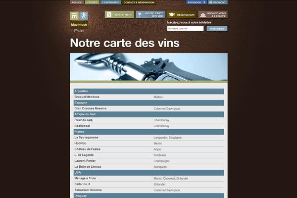 Page Carte des vins