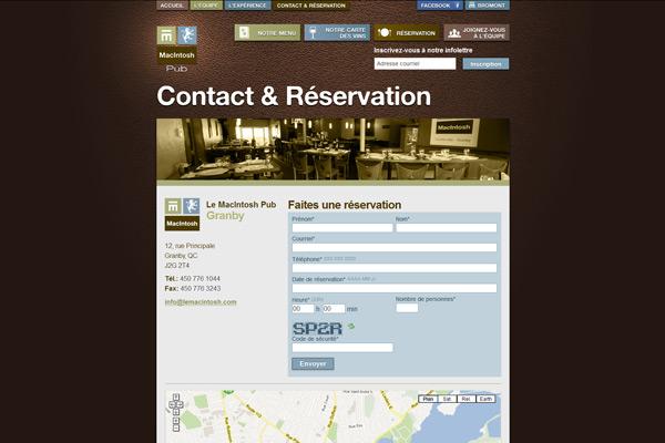 Page de contact et formulaire de réservation